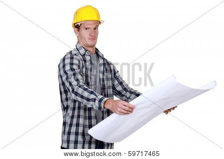 young foreman with blueprints isolated on white