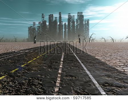 Weathered road leads into abandoned city