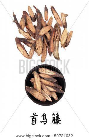 Fleeceflower stem chinese herbal medicine with mandarin script title translation. Ye jiao teng. Caulis polyoni multiflori.