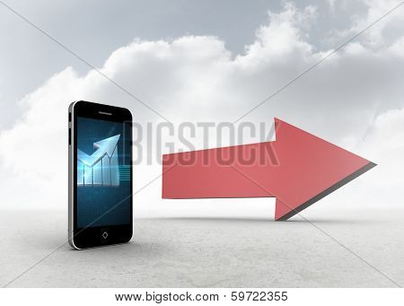 Arrow on smartphone screen against red arrow in the sky