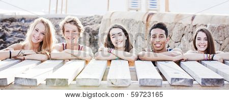 multi racial students on vacation