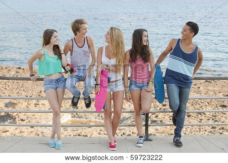 group of summer friends chatting