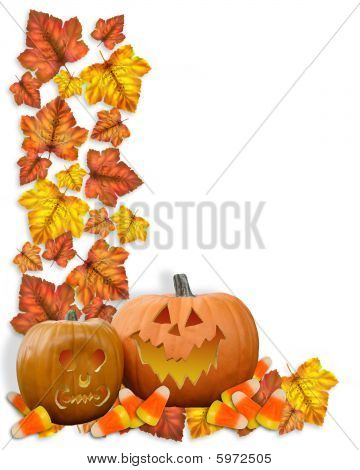 Halloween Autumn Fall Leaves Border pumpkins