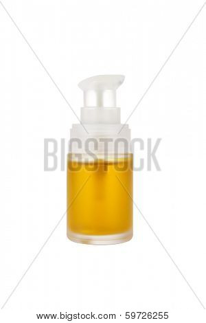 Cosmetic jojoba oil isolated on white