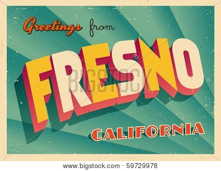Vintage Touristic Greeting Card - Fresno, California - Vector EPS10. Grunge effects can be easily removed for a brand new, clean sign.