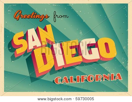 Vintage Touristic Greeting Card - San Diego, California - Vector EPS10. Grunge effects can be easily removed for a brand new, clean sign.