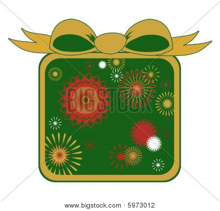 Christmas Starbursts In Green - Vector