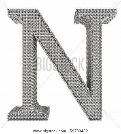 Chain Link Steel Alphabet - N