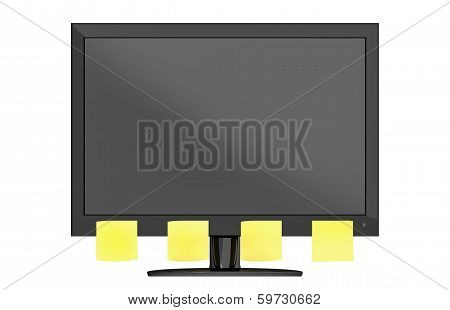 Modern Computer Monitor With Notes