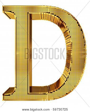 Rich Golden Cube Alphabet - D