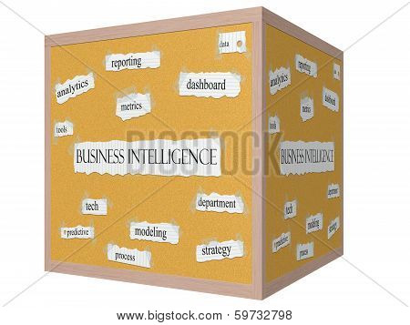 Business Intelligence 3D Cube Corkboard Word Concept