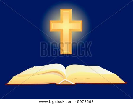 Open Bible and Golden Cross