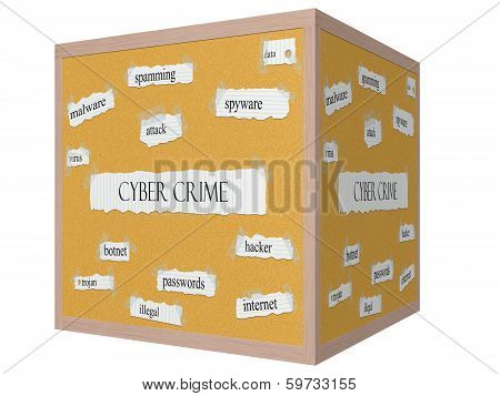 Cyber Crime 3D Cube Corkboard Word Concept