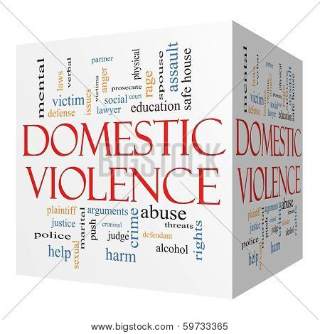 Domestic Violence 3D Cube Word Cloud Concept
