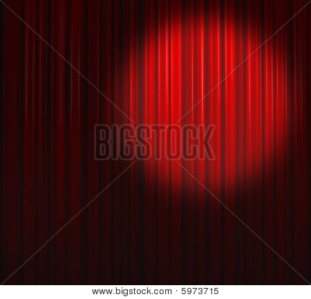 Deep Red Curtain With Spot Top Right