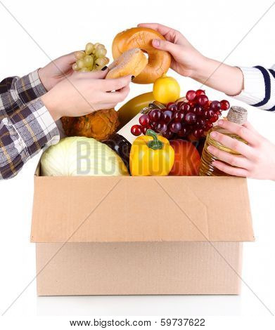 People make out products of box isolated on white