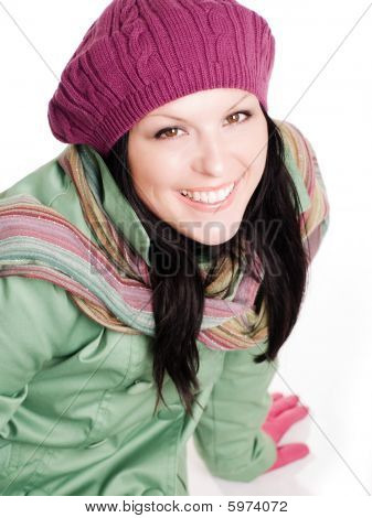 Closeup Of Smiling Woman In Colorful Fall Clothes