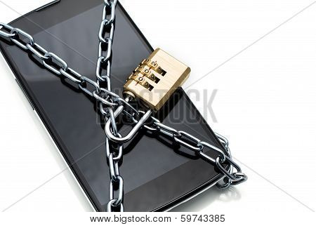 Modern Smartphone With Combination Lock Padlock. Concept Of Mobi