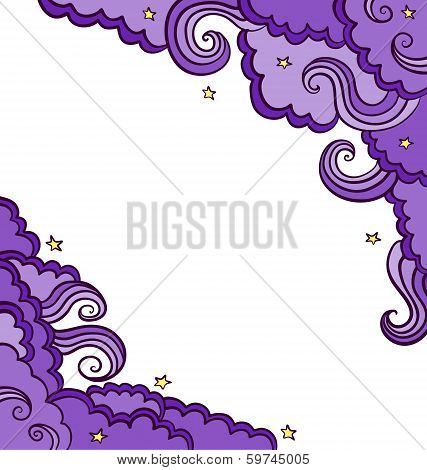 Vector Background With  Clouds  On A Starry Sky.