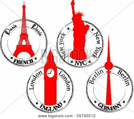 Stamp Paris-NYC-London-Berlin