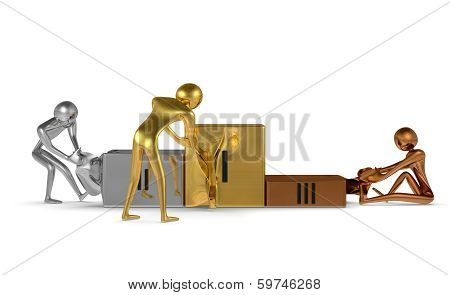 Golden, Silver And Bronze Characters Tearing Podium. Front View