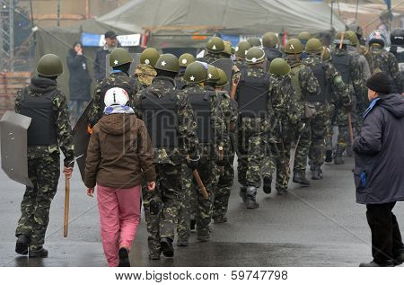 KIEV, UKRAINE - FEB 10, 2014: Downtown of Kiev.Kids-soldiers of Ukrainian opposition.. Riot in Kiev and Western Ukraine.February 10, 2014 Kiev, Ukraine