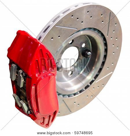 Mechanism Of Automobile Disc Brakes: Assembled Caliper With Disk And Pads