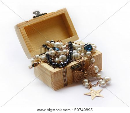 Jewelry in the wood box