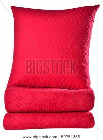 Bedding objects against white background.