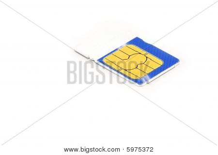 Blue And White Sim Card Isolated