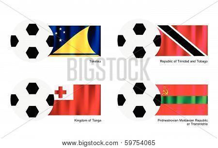 Soccer Ball Tokelau, Trinidad And Tobago, Tonga And Transnistria Flag