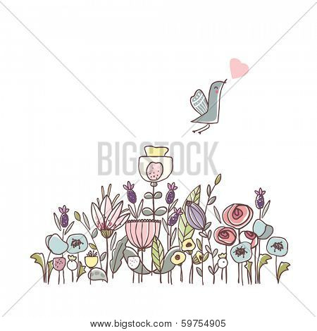 garden theme illustration with flowers and bird