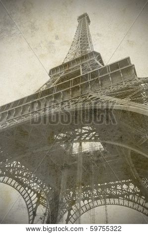 Eiffel Tower In Paris, France, Old Photo Style