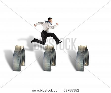Businessman Jumping Over Euro Symbols