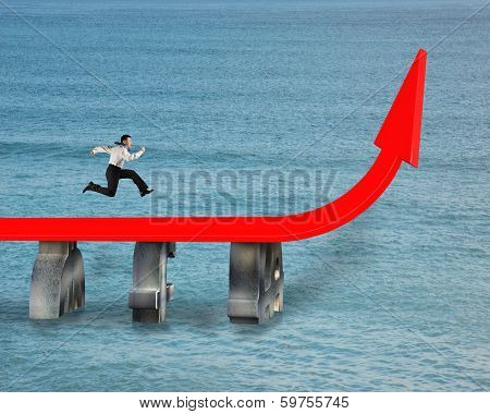 Businessman Running On Red Trend Arrow Bridge