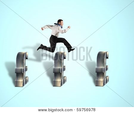 Businessman Jumping Over Pound Symbol