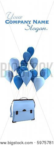 3D rendering of a group of blue balloons carrying  a schoolbag