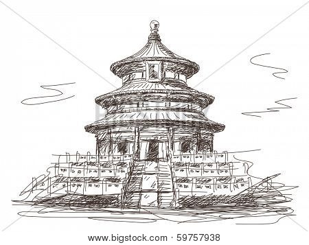 Temple of Heaven in Beijing Vector sketch