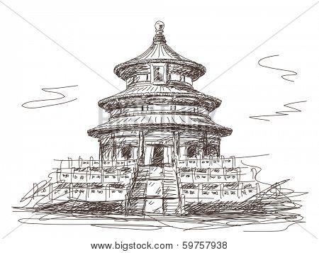 Temple of Heaven in Beijing Vector sketch