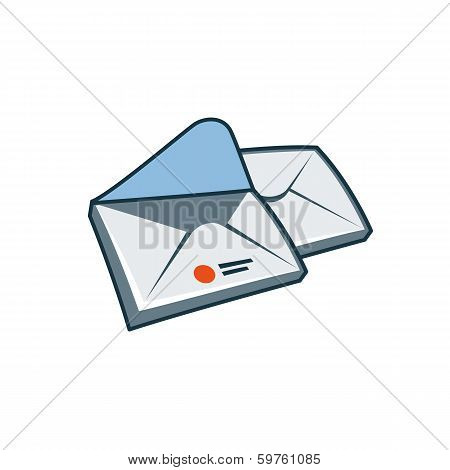 Envelopes icon in cartoon style