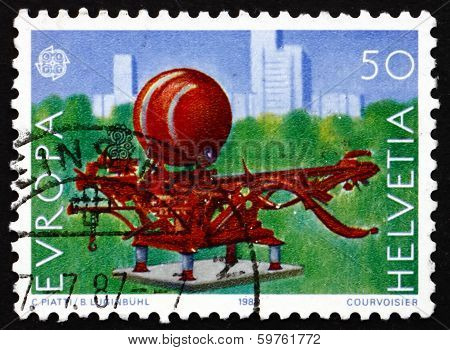 Postage Stamp Switzerland 1987 Scarabaeus, 1979, Sculpture