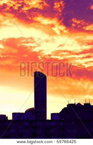 High-rise building at daybreak