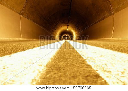 Tunnel With Strange Lights And Emptiness