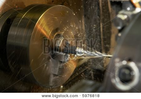 Drilling A Hole In Blank On Turning Machine