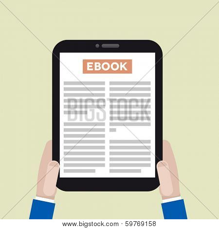 minimalistic illustration of a tablet computer with running ebook application, eps10 vector