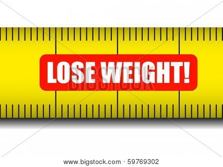 detailed illustration of a measure tape with lose weight text, eps10 vector