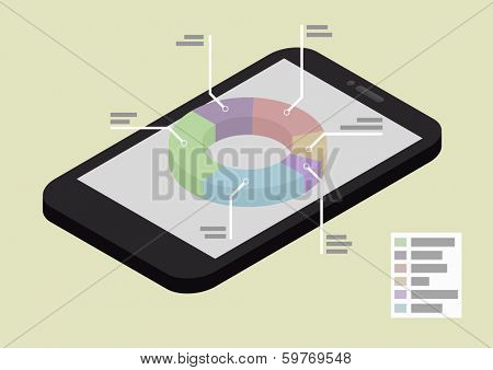 illustration of a smartphone in isometric view with pie chart, eps10 vector