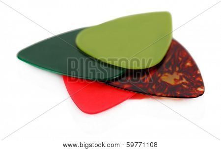 Colorful plectrums isolated on white