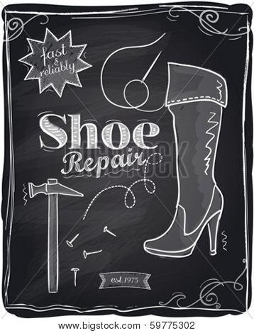 Shoe repair chalkboard background.