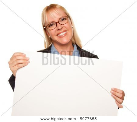 Attractive Blonde Holding Blank White Sign